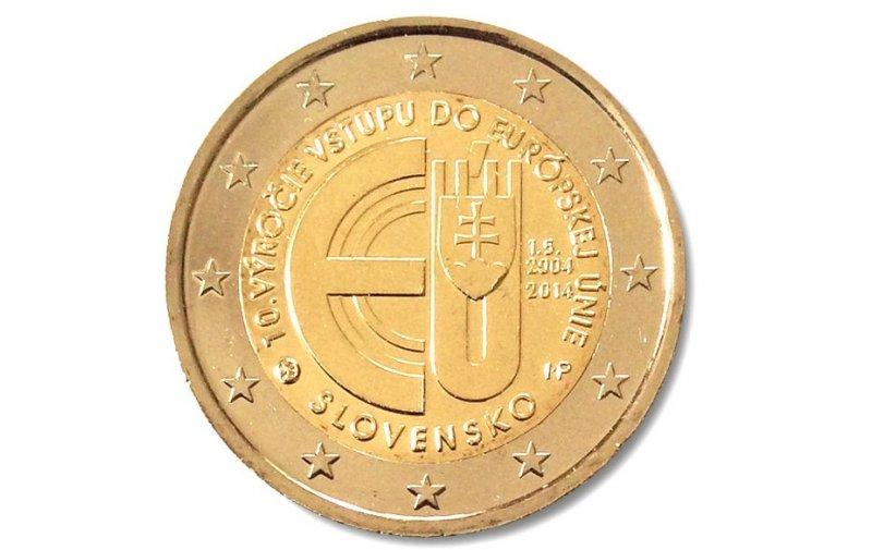 2 Euro Sondermünze Slowakei 2014 10 Jahre Eu Beitritt