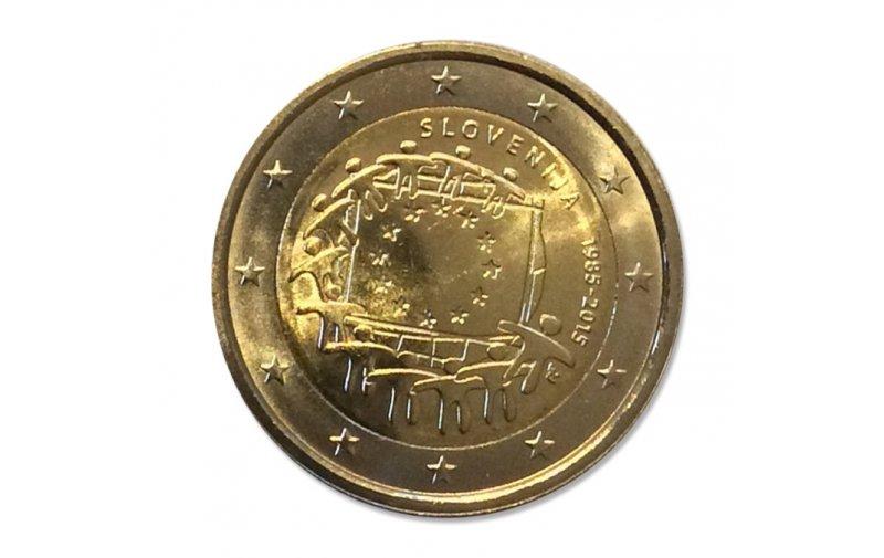 2 Euro Sondermünze Slowenien 2015 30 Jahre Europaflagge Gemeinschaftsausgabe