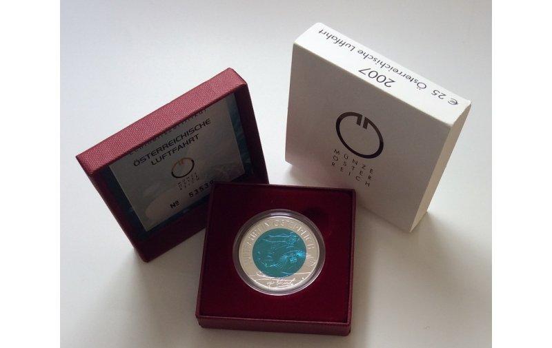 25 Euro Niob Münze österreich 2007 Luftfahrt Gedenkmünzen Kaufen