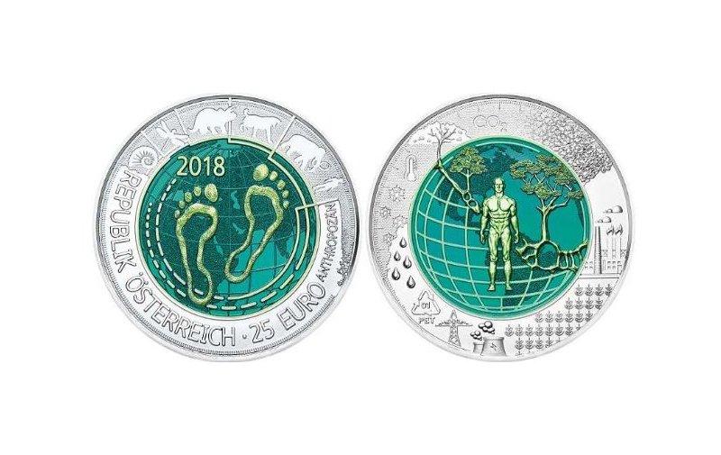 25 Euro Niob Münze österreich 2018 Anthropozän 9500