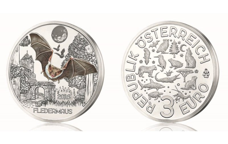 3 Euro Münze österreich 2016 Tier Taler Fledermaus 10900