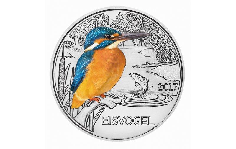 3 Euro Münze österreich 2017 Tier Taler Eisvogel 6990