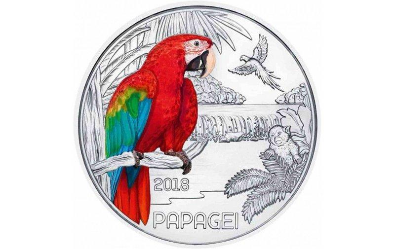 3 Euro Münze österreich 2018 Tier Taler Papagei 4990