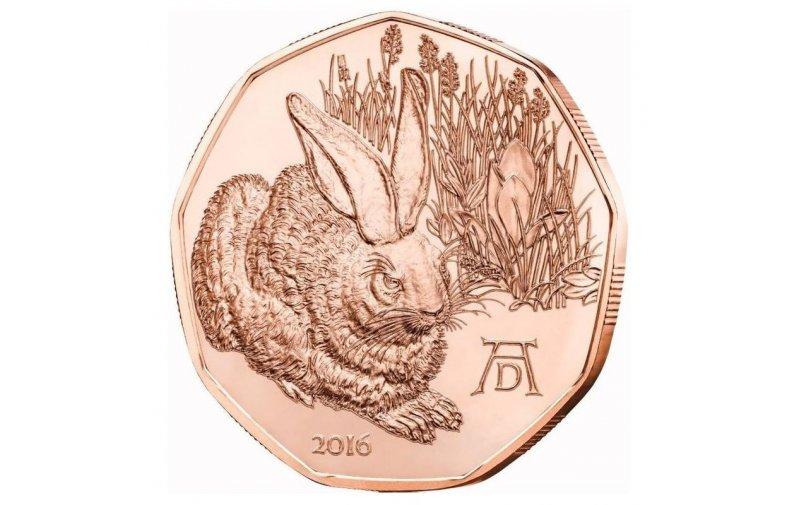 5 Euro Kupfer Münze österreich 2016 Feldhase 690