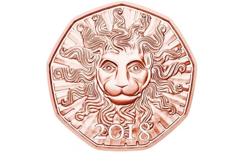 5 Euro Kupfer Neujahrmünze Löwenkraft 2018 690