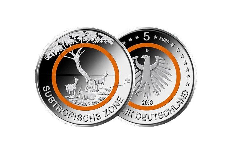 5 Euro Münze Deutschland 2018 Klimazonen Subtropische Zone 1290