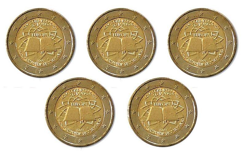5 X 2 Euro Sondermünze Deutschland 2007 A J Römische Verträge