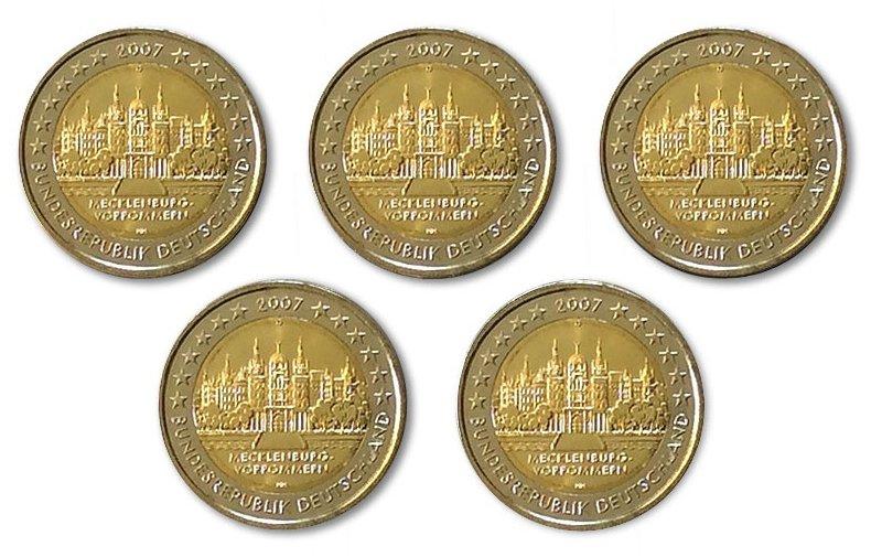 5 X 2 Euro Sondermünze Deutschland 2007 A J Schloss Schwerin
