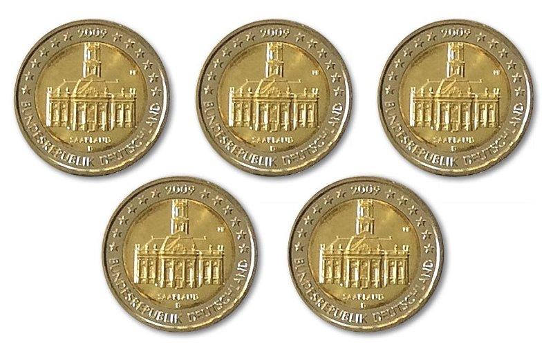 5 X 2 Euro Sondermünze Deutschland 2009 A J Saarland