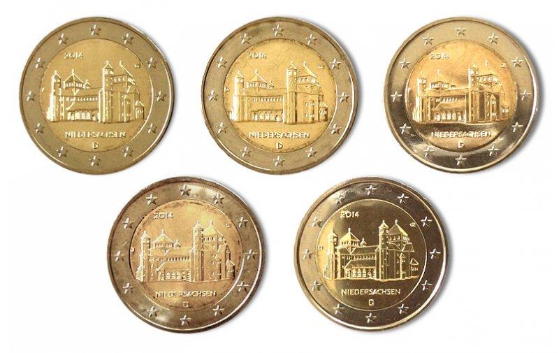 5 X 2 Euro Sondermünze Deutschland 2014 A J Niedersachsen
