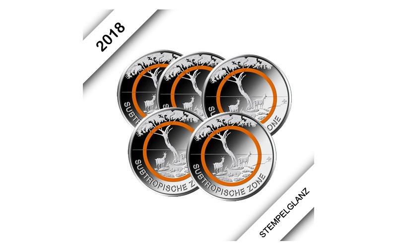 5 Euro Münze Deutschland 2018 Klimazonen Subtropische Zone 8900