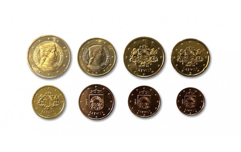 Kursmünzensatz Lettland 2014 1 Cent 2 Euro Bankfrisch