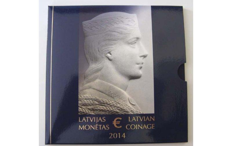 Offizieller Kursmünzensatz Lettland 2014 Stempelglanz 1 Cent Bis